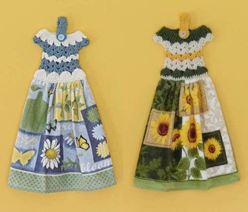 Set of 2 Crochet Dress Kitchen Towels