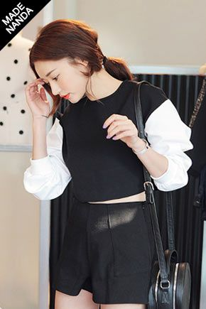 Today's Hot Pick :スリーブカラー切替クロップドTシャツ http://fashionstylep.com/SFSELFAA0023456/stylenandajp/out