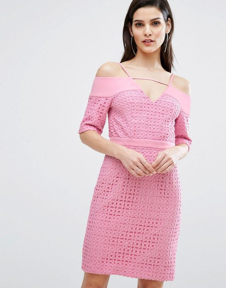 The 8th Sign Lace Cold Shoulder Midi Dress - Pink