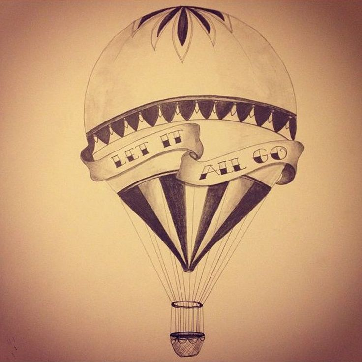 "vintage hot air balloon tattoo with ""the world is your playground"""