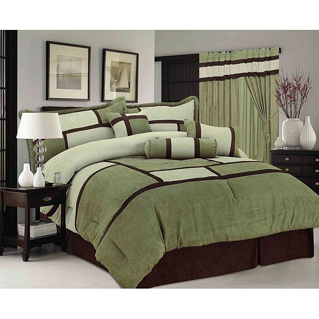 Sage Green Chelsea Contemporary 7 Piece Comforter Set