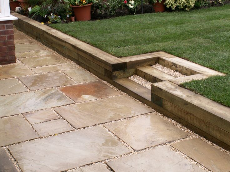 Raised lawn with reclaimed sleepers garden pinterest for Garden pond design using sleepers