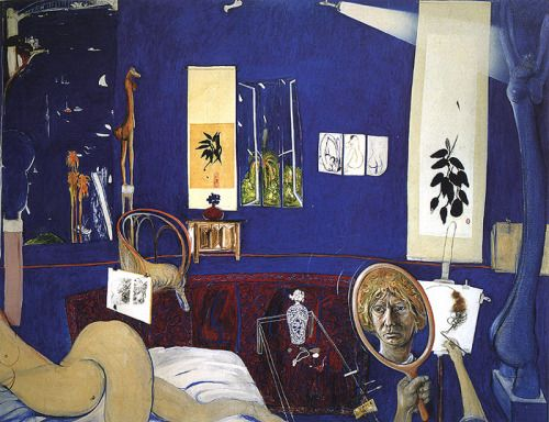 Brett Whiteley (1939-1992), Self Portrait in the Studio, 1976. oil, collage and hair on canvas, 200.5 x 259 cm