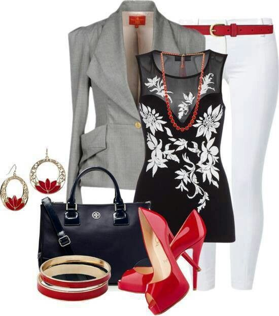 Black Grey U0026 Red Outfit | Creative Career Attire | Pinterest | White Skinny Jeans Red High ...