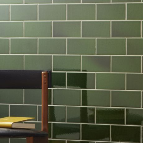 Buy V&A Collection puddle glazed tile in racing green 152x76mm, Interior ceramic wall tiles - These brick format puddle glaze tiles display the rich variation and depth of traditional...