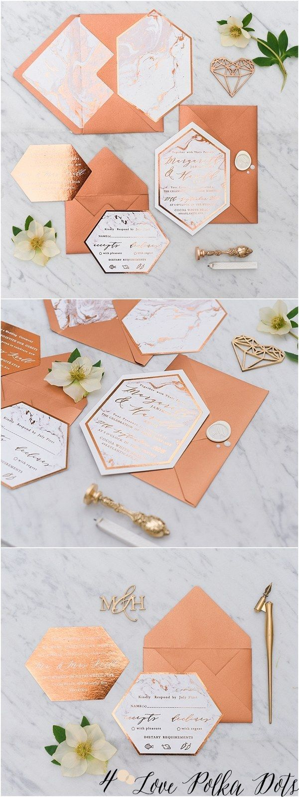 Copper & marble wedding invitations #copperwedding #weddingideas #glitter