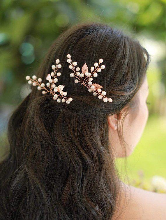 Bridal Hair Pins,Gold hair pins,Leaf hair pins,Flower hair pins,Gold bridal headpiece,Bridesmaid hair pins,Wedding hair pins,Pearl hair pins
