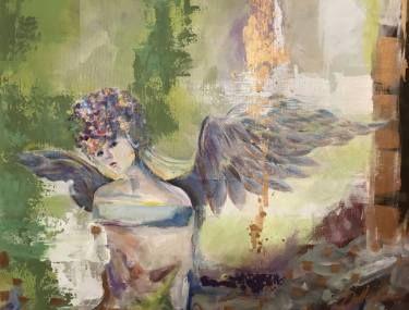 "Saatchi Art Artist Aria Dellcorta; Painting, ""Freedom's Prisoner"" #art #artist #painting #abstract #angel #woman #artforsale #academicart"