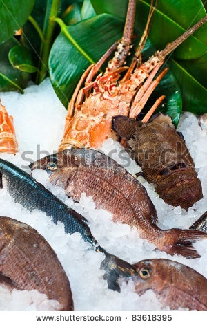 Fresh seafood arrangement displayed in market in Rethymno, Crete, Rethymno