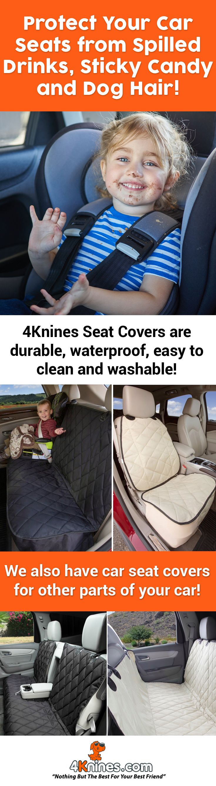 Protect your car seats from messy kids and dirty dogs with premium 4Knines Car Seat Covers! The non-slip backing of 4Knines Car Seat Covers ensures the spills and dirt stay on the cover and not on your car seat: http://4knines.com/collections/all