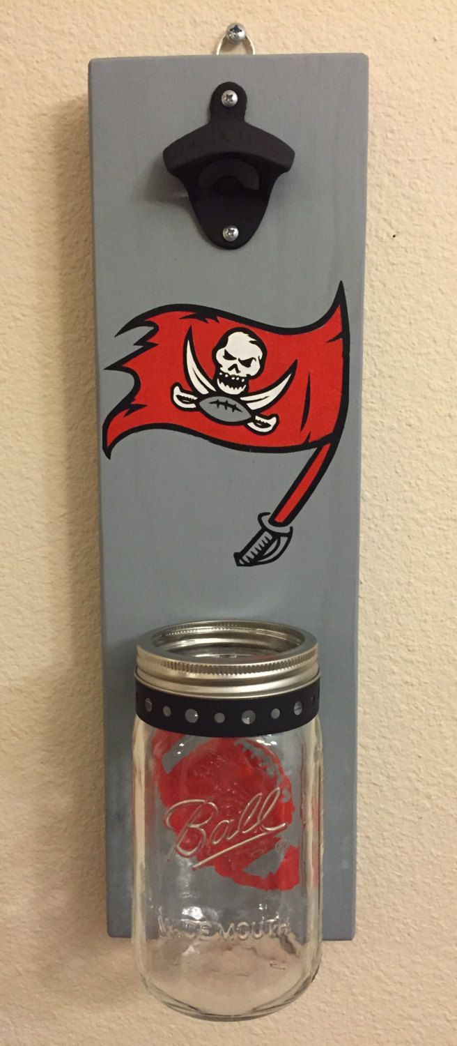 TAMPA BUCCANEERS Bottle Opener with Mason Jar Rustic Football Tampa Bucs, Tampa bay BUCCANEERS - pinned by pin4etsy.com
