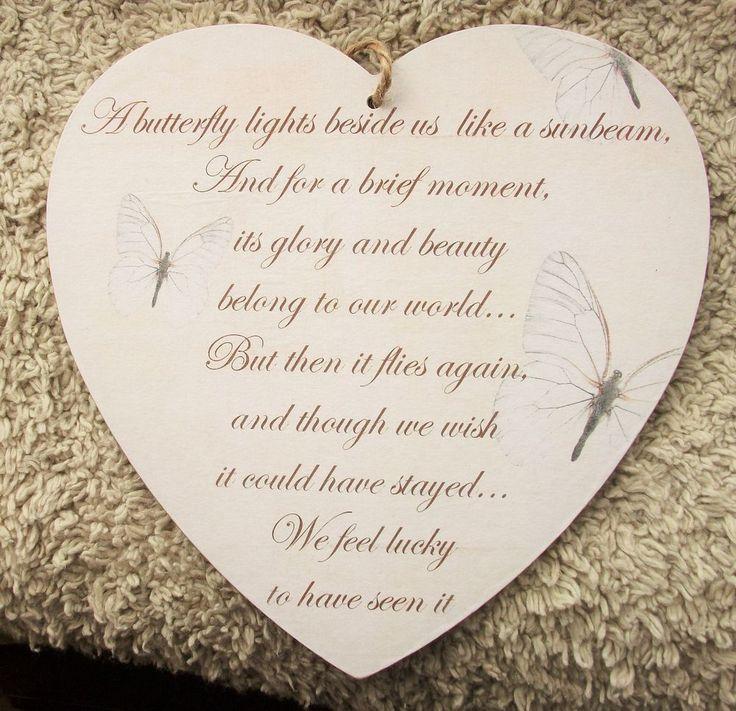 A butterfly lights beside us, sunbeam, memorial, remembrance, HANDMADE plaque