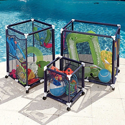Pool Storage Ideas coat hooks bungees and plastic chains make for tidy pool equipment storage Pool Storage Bins From Improvementscatalogcom Checking Out The Website Right Now