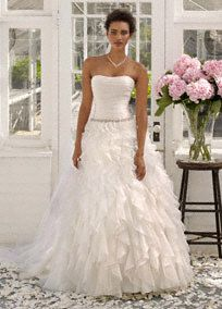 Strapless Organza Ball Gown with Ruffle Detail Style WG3118  David's Bridal Collection