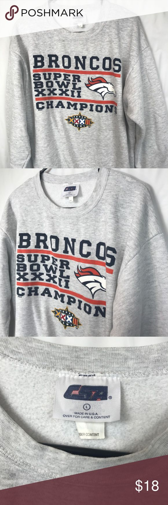 Denver Broncos Vintage 1997 Super Bowl Sweater Denver Broncos Vintage 1997 Super Bowl Sweater Pullover Crew Neck - Pit to pit: 23 - Length: 27 Sweaters Crewneck