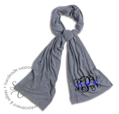 Southern Charm Designs - Thin Blue Line Monogram Scarf, $22.00 (http://www.shopsoutherncharmdesigns.com/thin-blue-line-monogram-scarf/)