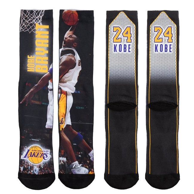 Kobe Bryant Los Angeles Lakers FBF Sublimated Player Crew Socks | US Sports Down Under
