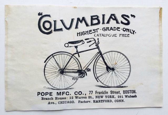 """Columbias Vintage Bike Vintage Aged Papers 11"""" x 17"""""""