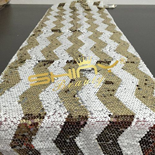 Sparkly Gold Chevron Sequin Table Runner 12in 72in, New #Shidianyi