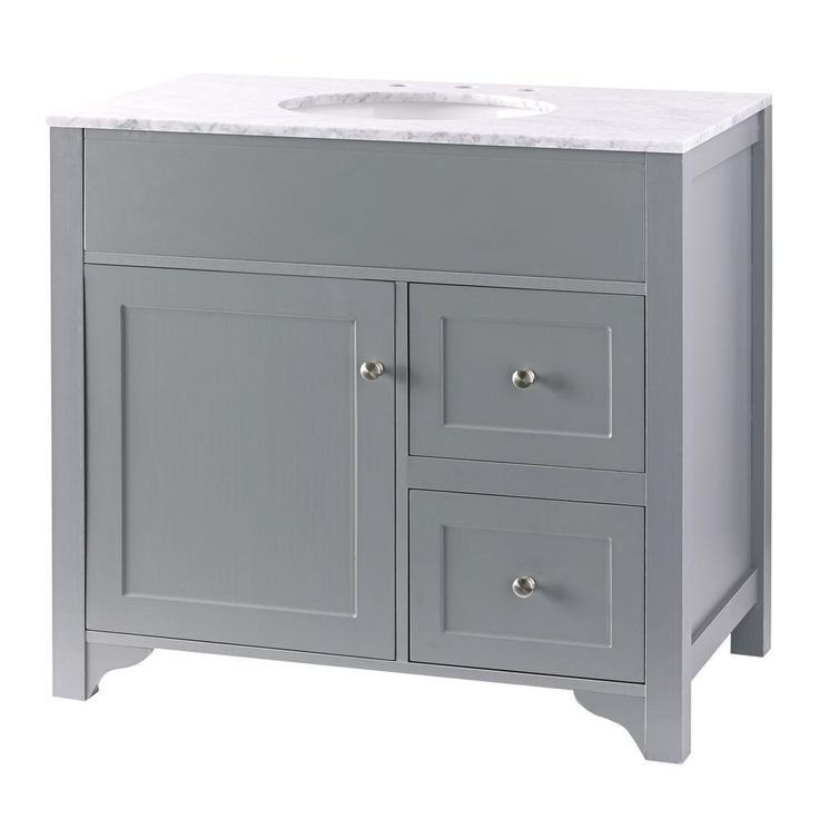 Null Hillsbury 36 In Vanity In Cool Gray With Marble Vanity Top In Carrara White The O 39 Jays