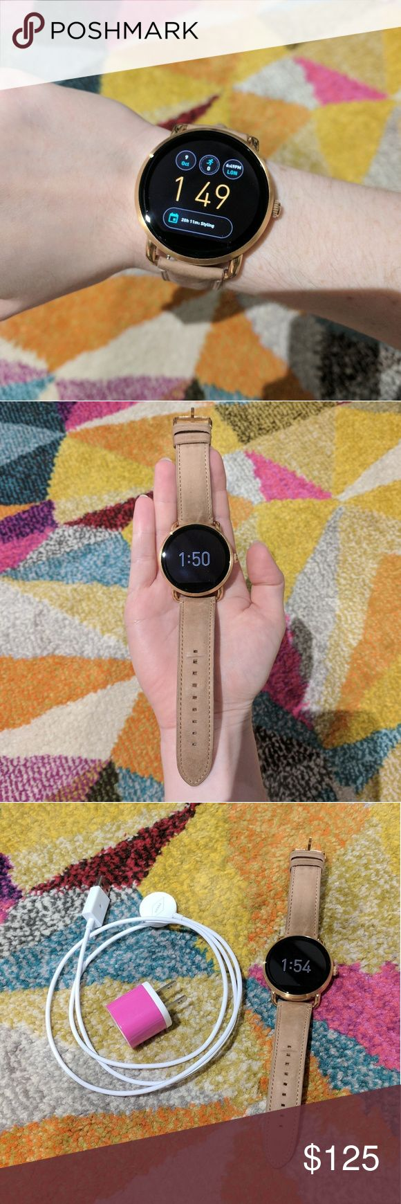 Fossil Q Wander SmartWatch Android Wear SmartWatch; Compatible with Android phones as well as iPhones (with Android Wear App); Rose Gold with Beige band; Charger included (with wall adapter); Like New! Perfect working condition; minor wear on strap. Fossil Accessories Watches