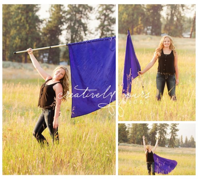 Spokane Senior Pictures by Creatively Yours Photography.  Color Guard in a field.