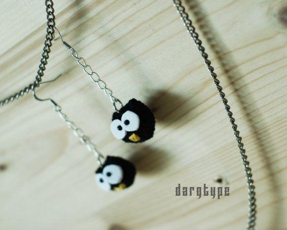 little black owl earrings