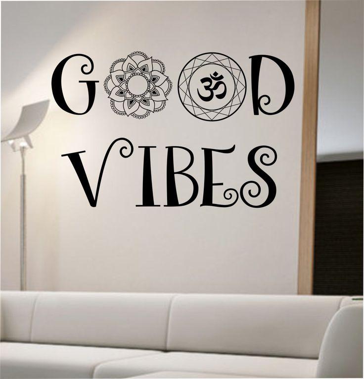 Good vibes wall decal om mandala flower namaste vinyl sticker art decor bedroom design mural flower buddha namaste yoga living room