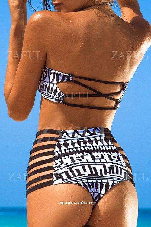 Black and White Strapless Print Bikini Set