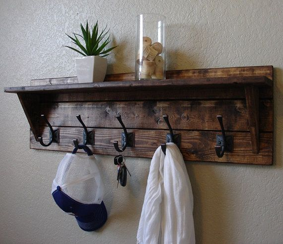 Corvallis Rustic Modern 5 Hanger Hook Coat Rack with by KeoDecor, $145.00