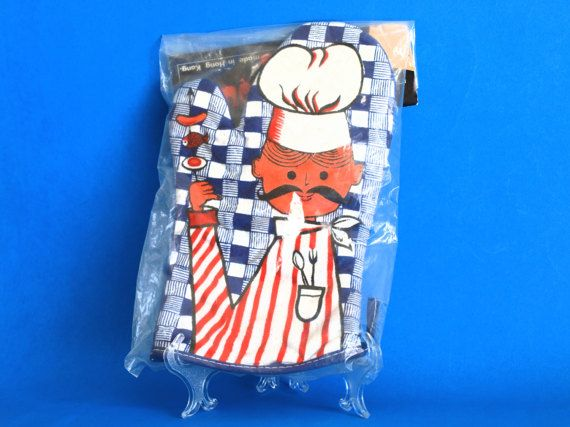Retro Vintage 70s Barbeque Barbecue BBQ or Oven Mitt by FunkyKoala