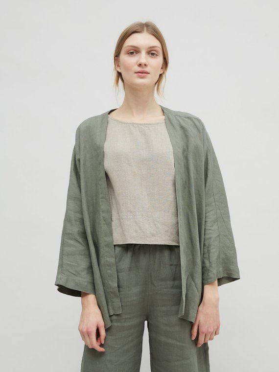 47e30210684321 Linen jacket / Linen kimono jacket / Oversized linen kimono / Kimono ...