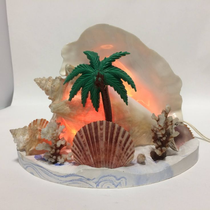 Conch Sea Shell Lamp Beach Decor 1950s Coral Palm Resin Base Working Tropical Decor Island Coastal Vintage by KoolKoolThangs on Etsy