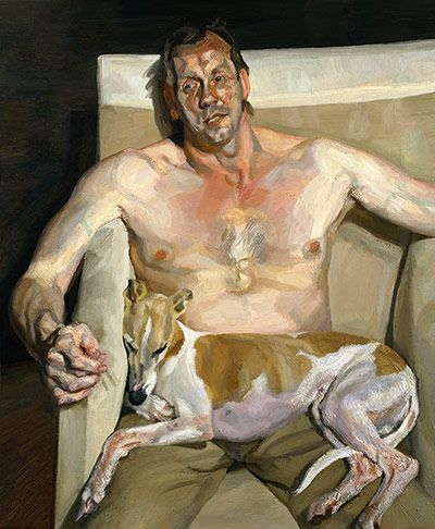 Lucian Freud.  Eli and David, 2005-06. In his last years, Freud regularly painted his assistant David Dawson with the whippets Eli and Pluto