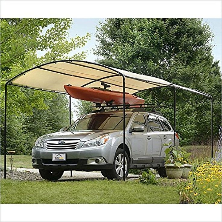 Round Top Canopy Steel Black Frame Outdoor Storage