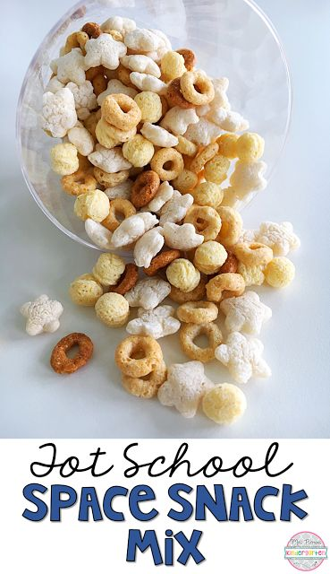 This Space Snack mix is easy peasy and perfect for tot school, preschool, or the kindergarten classroom.