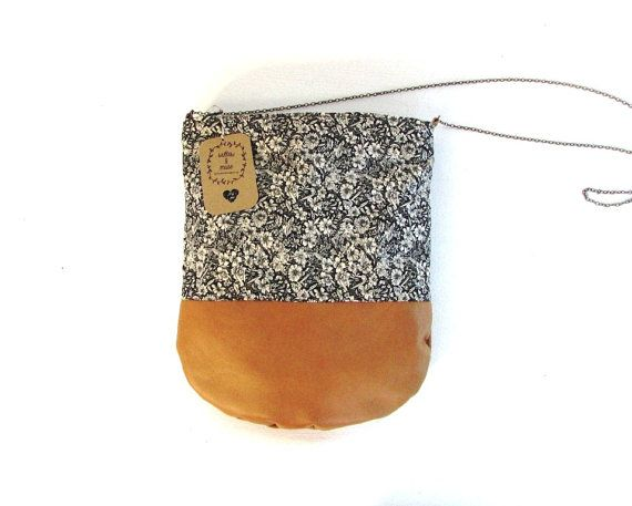 Leather and cotton bag on etsy