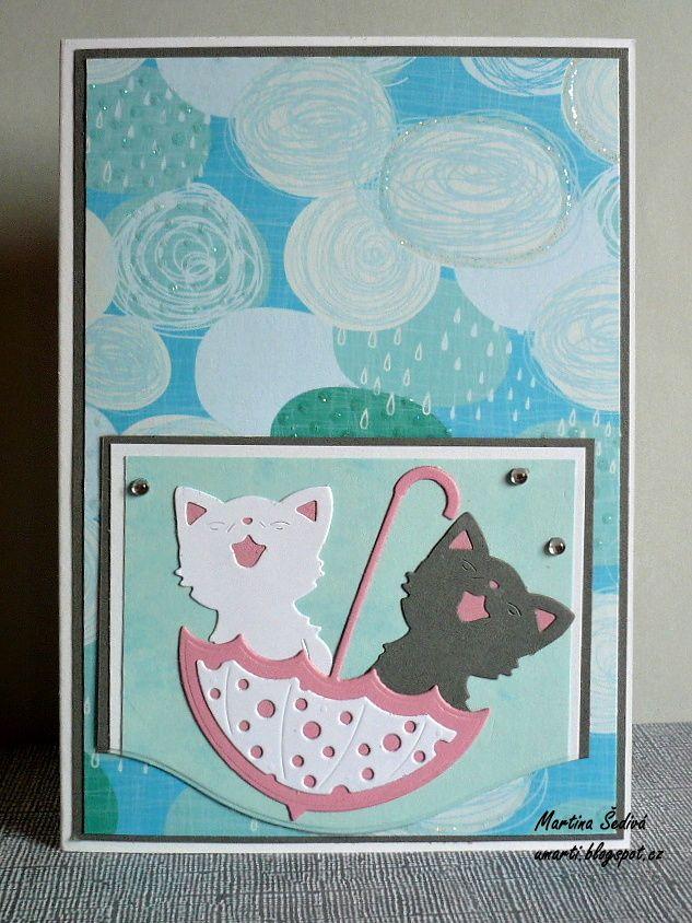 card - cats and umbrella