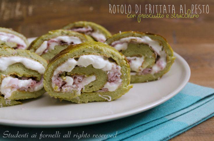 Rotolo di frittata al pesto prosciutto e stracchino http://blog.giallozafferano.it/studentiaifornelli/rotolo-di-frittata-al-pesto-prosciutto-e-stracchino/