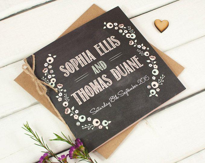 Pastel Floral pizarra doblado invitación de la boda
