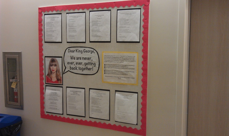 """After learning about the causes of the American Revolution and the Declaration of Independence, my fifth graders used Google Docs to write collaborative parodies of Taylor Swift's hit song, """"We Are Never Ever Getting Back Together."""""""