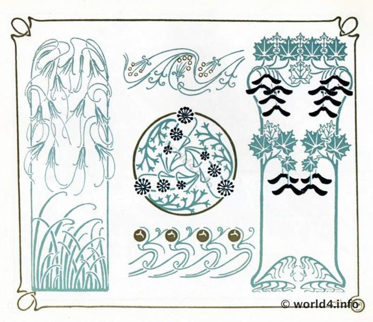 118 best art nouveau images on pinterest art deco art for Art nouveau shapes