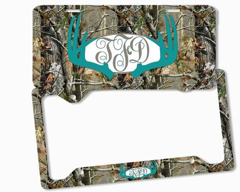 Turquoise Brown Camo Antlers Monogram License Plate Frame Metal Car Tags Personalized