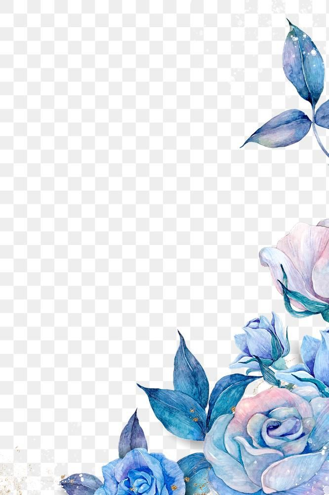 Watercolor Rose Flower Border Png In Blue Free Image By Rawpixel Com Adj Flower Border Png Flower Png Images Blue Flower Png