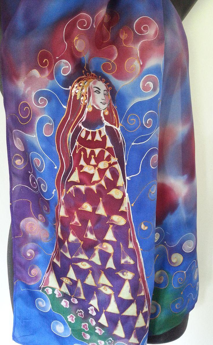 KLIMT Gold Lady Art scarf, Handpainted Klimt style scarf, New Zealand Handmade, Art SILK SCARF, Gold, purple, blue, Gift Card, 150 x 28cm by KiwiSilks on Etsy