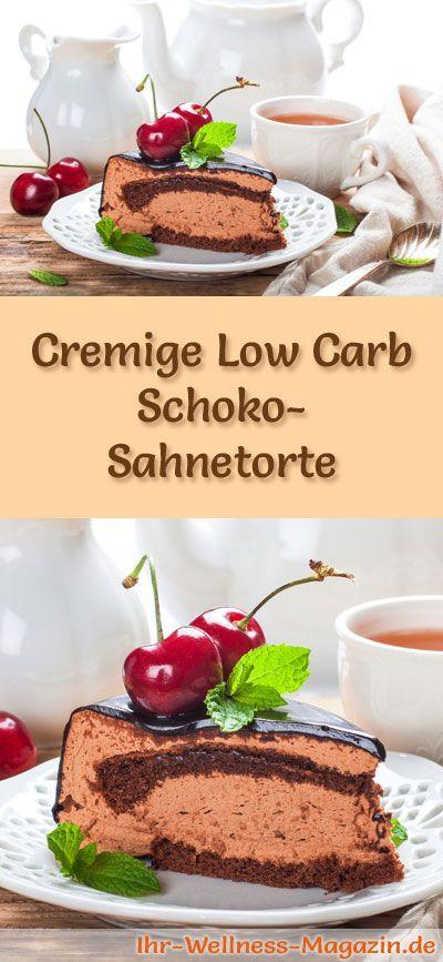 Rezept für eine Low Carb Schoko-Sahnetorte - kohlenhydratarm, kalorienreduziert, ohne Zucker und Getreidemehl