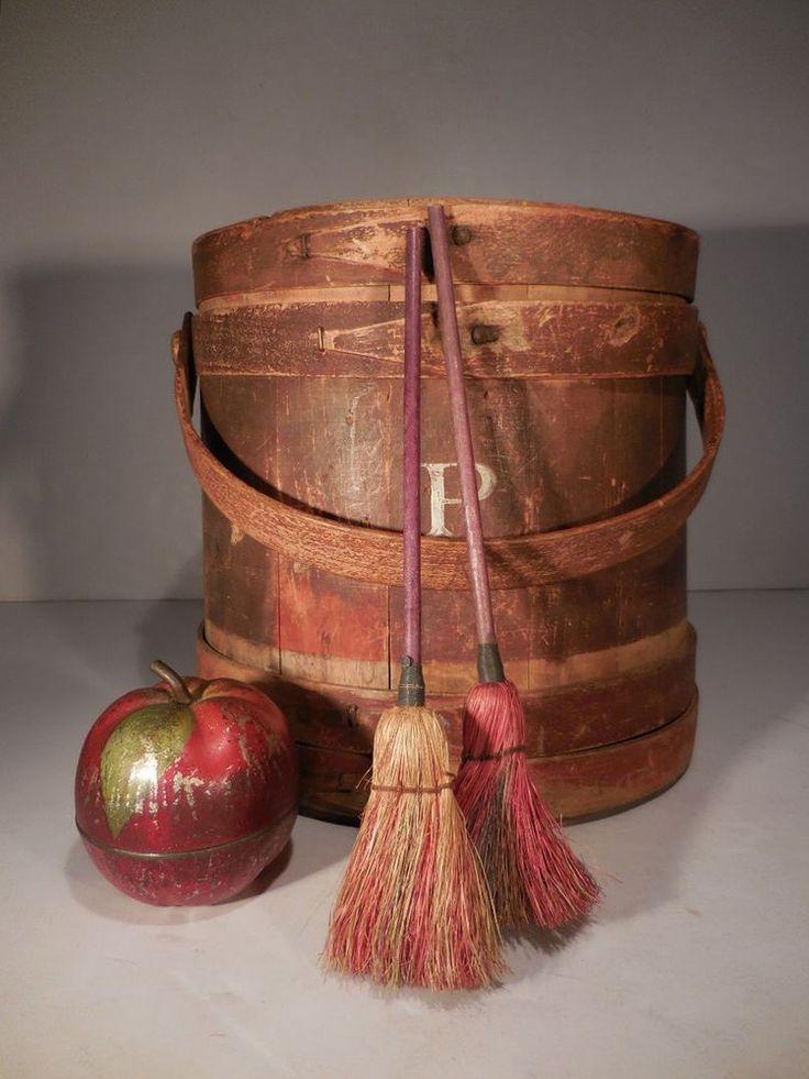 AAFA Scarce Pair Miniture Primitive Straw Brooms Antique Wood Handle Broom #Primitive #AntiqueBroom
