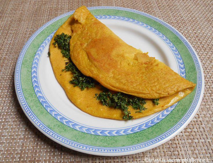 Omelette végane (sans oeuf) avec tofu soyeux, farine de pois chiche et maïzena