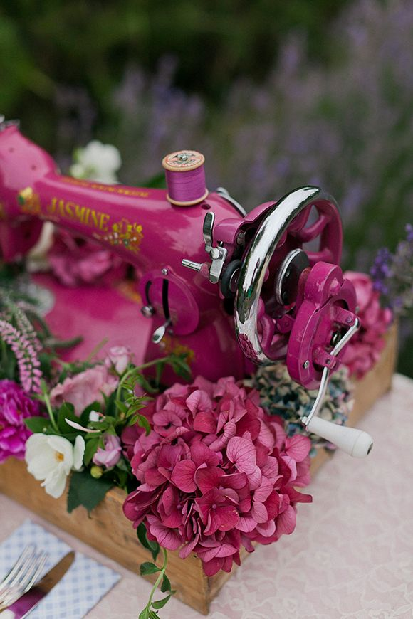 <3 SEWING MACHINE centerpiece - Lavender Inspiration Shoot by Kate Robinson - via magnoliarouge