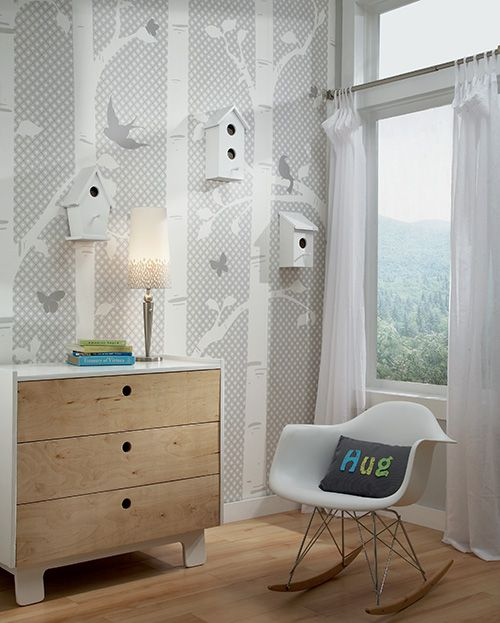 Garden Butterflies and Birds Mural in white on grey (YS9235M) from Peek-A-Boo by York Wallcoverings